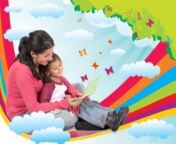 Mom-and-little-girl-reading-book-on-rainbow