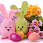 Easter Bunny with Colorful Flowers and Easter Eggs