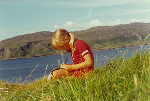9 years old Cressida Cowell writing on the island